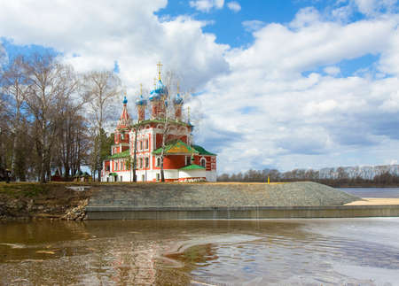 uglich russia: Historical town Uglich in Russia, church of prince Dmitriy on blood. Stock Photo