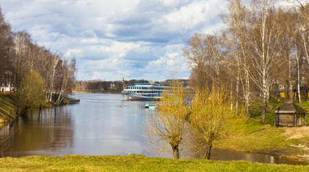 uglich russia: Tourist cruise ship on river Volga arrives in port of historical town Uglich, Russia.