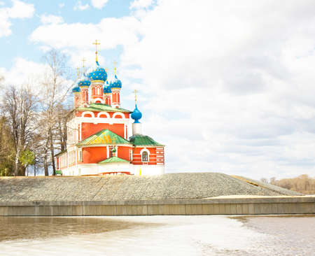 uglich russia: Church of prince Dmitry-on-blood on bank of Volga river in town Uglich, Russia Stock Photo