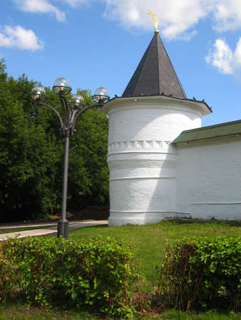 surrounding wall: Historical town Dmitrov in Russia, Borisoglebskiy monastery monastery of St. Boris and St. Gleb, tower of surrounding wall.