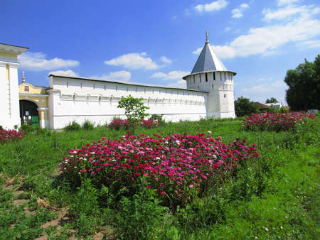 surrounding wall: Historical town Serpuhov in Russia, Visotskiy monastery, tower and surrounding wall.