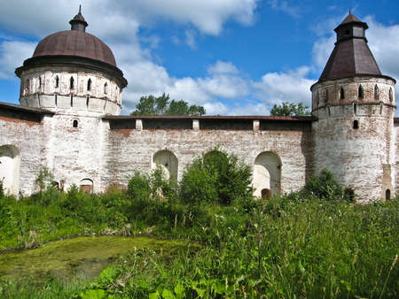 surrounding wall: Borisoglebskiy monastery in town Borisoglebsk in Russia, towers of surrounding wall.