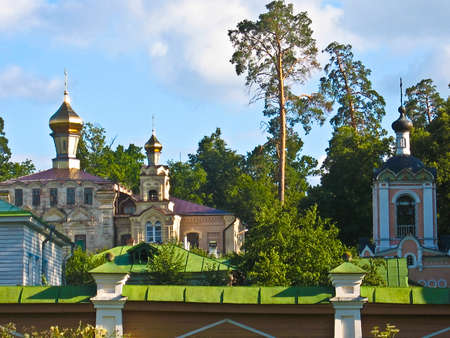 Famous monastery Optina pustin in Russia, skit in forest hermitage, small secluded monastery.