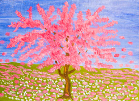 pink tree: Pink tree on blue sky and meadow (Cercis Canadensis, sakura), oil painting.