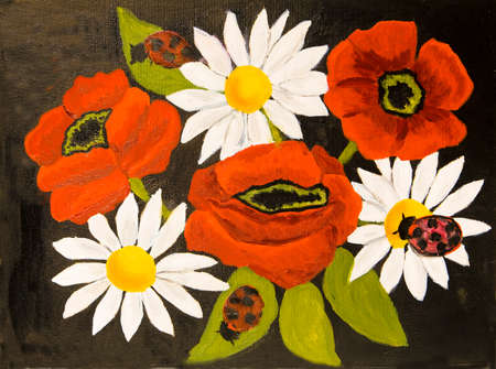 creative arts: Red poppies and camomiles (ox-eye daisy) on black background, oil painting. Stock Photo