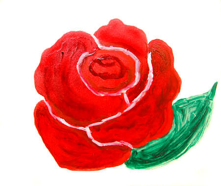 creative arts: Red rose on white background, oil painting.