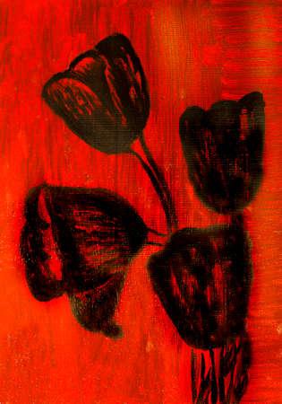 crimson: Oil painting, black tulips on crimson background Stock Photo