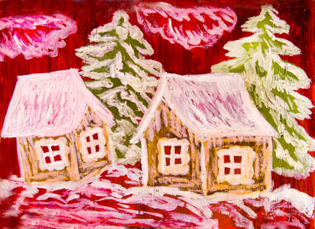 raspberry pink: Christmas - New year illustration - houses with fir trees in winter on crimson (raspberry pink) background.