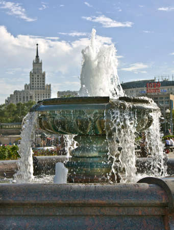 place of interest: MOSCOW - JUNE 23, 2010: fountain on Komsomolskaya square, big transport centre of the city with three railway stations. Editorial