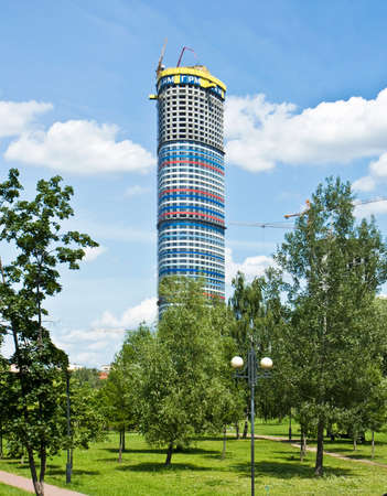 june 25: MOSCOW - JUNE 25, 2012: modern building Tricolor, construction will be finished in 2016 year on prospectus Mira street.