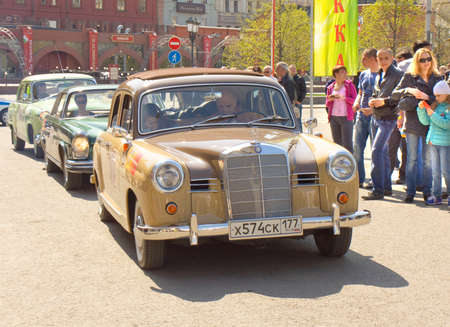 MOSCOW - APRIL 27, 2014: retro car mercedes on rally of classical cars, organized by Russian Club of Classical Autocars on Theatre square. Editorial