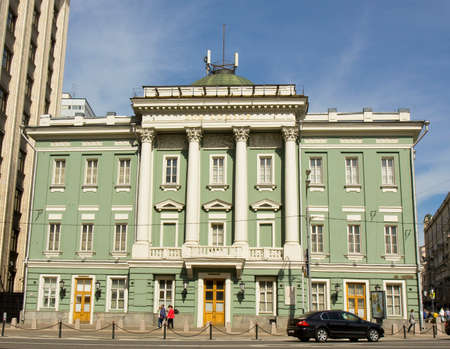 classicism: MOSCOW - MAY 15, 2014: House of Unions, has been built in 1775 year by architect Kazakov in classicism style, cross of Ohotny ryad and Big Dmitrovka streets in city centre.