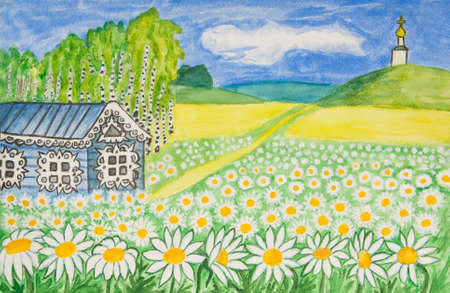 creative arts: Hand painted picture, watercolors, House with camomiles (ox-eye daisy) - House in Russia. Stock Photo