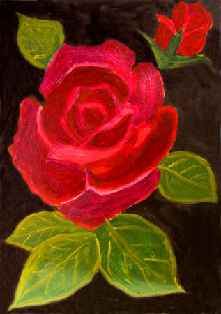 nature one painted: One red rose on black background, oil painting.