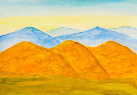yellow hills: Watercolor painting, landscape with yellow and blue hills in autumn.