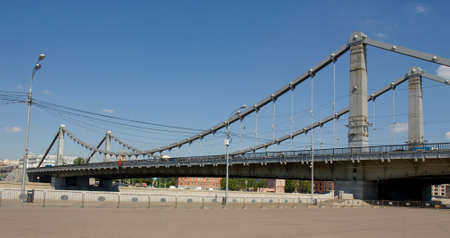 place of interest: MOSCOW - MAY 23, 2014: Krymsky bridge on Moskva-river, has been built in 1938 year.