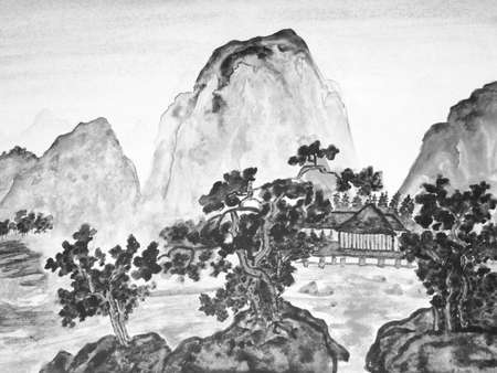 Hand drawn picture, in traditions of Chinese painting, watercolour, in black and white color. Landscape - mountains, trees and houses. Фото со стока