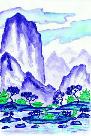 painting style: Hand painted picture - landscape with mountains in blue colours, watercolours, in traditions of old Chinese painting mixed with individual style.