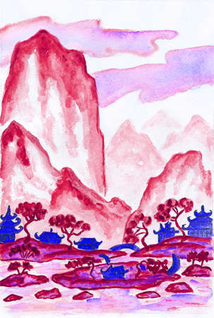 pink hills: Hand painted picture - landscape with mountains in red colours, watercolours, in traditions of old Chinese painting mixed with individual style.