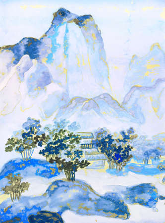 sm: This is my own painting, hand drawn in traditions of ancient Chinese painting, watercolours. Size of original 30,5 x 22 sm.