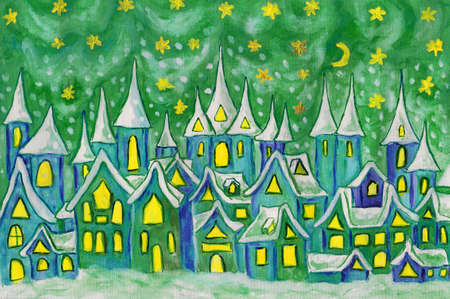 sm: Hand painted illustration, watercolours - Dreamstown. Can be used as illustration for fairy tales books for children, Christmas pictures. Size of original 28,5 x 20 sm. Stock Photo