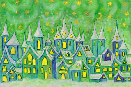 new ages: Hand painted illustration, watercolours - Dreamstown. Can be used as illustration for fairy tales books for children, Christmas pictures. Size of original 28,5 x 20 sm. Stock Photo