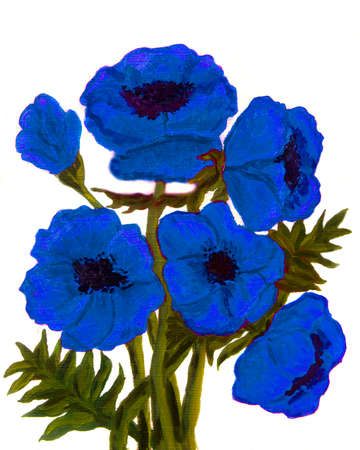 fine art painting: Hand painted picture, oil painting,blue poppies on white background, vertical. Stock Photo