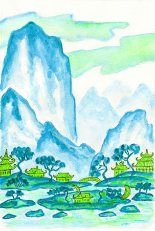 motton blue: Hand painted picture - landscape with mountains in blue colours, watercolours, in traditions of old Chinese painting mixed with individual style.