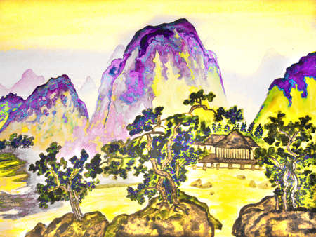 sm: Hand drawn picture, in traditions of Chinese painting, watercolour. Landscape - mountains, trees and houses. Size of original 38 x 25 sm.