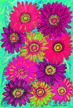 gerbera: Background from gerbera flowers of pink, purple and yellow colours on green leaves, hand painted picture, watercolours.