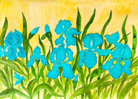flower bed: Hand painted picture, watercolours, flower bed with many blue irises on yellow background.  Size of original 42 x 30 sm.
