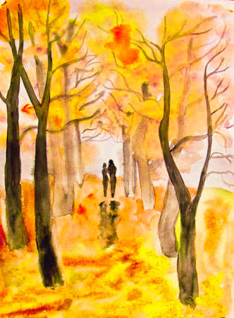 autumn woman: Hand painted picture, watercolours - couple lovers walking down autumn alley.
