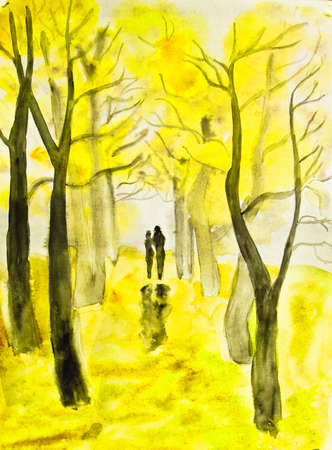 alley: Hand painted picture, watercolours - couple lovers walking down autumn alley. Size of original 29,5 x 21 sm. Stock Photo
