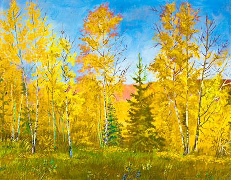 fall landscape: My own hand drawn picture, oil painting, autumn landscape. Stock Photo