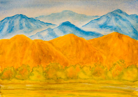 yellow hills: Landscape with blue and yellow hills in autumn, watercolor