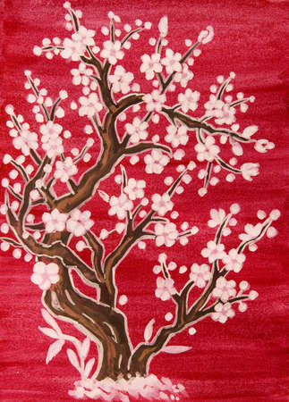 traditions: White tree in blossom, in traditions of old Chinese art, painting, gouache on watercolor background. Stock Photo