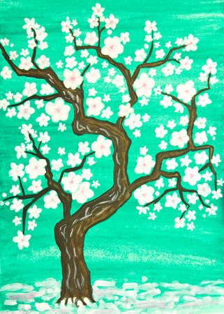 Weißer Baum In Blüte In Rosa Hintergrund, Malerei, Aquarelle Und ...