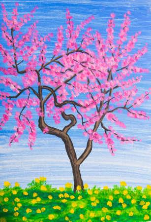 peach tree: Peach tree in blossom, painting, acrylic