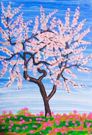 creative arts: White tree in blossom, painting, acrylic