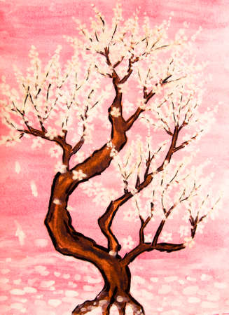 traditions: White tree in blossom in pink background, painting, watercolours and white gouache, in traditions of old Chinese painting.