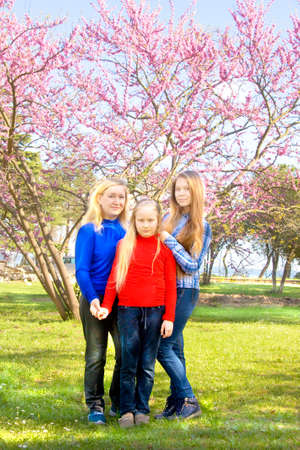 sixteen: Family - mother with two daughters of different age, sixteen and nine, in park near pink cercis tree in blossom. Stock Photo