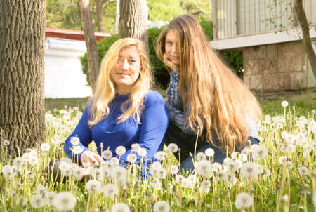 sixteen: European mother and daughter of sixteen years on meadow with white dandelions.