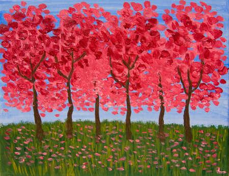 crimson: Spring garden in crimson colours, oil painting.