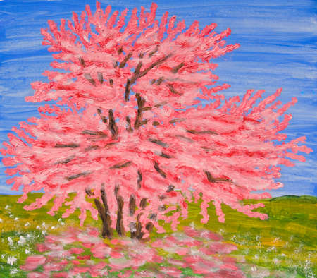 visual art: Cercis tree in blossom, oil painting. Stock Photo
