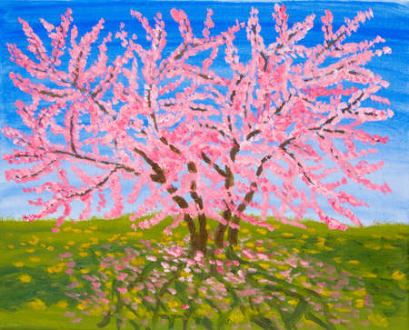creative arts: Cercis tree in blossom, oil painting. Stock Photo