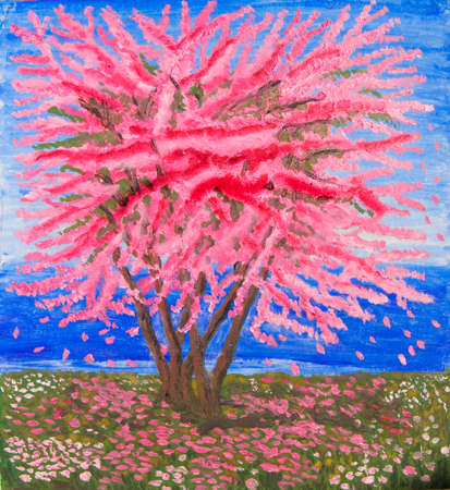 Cercis tree in blossom on sea shore, oil painting.