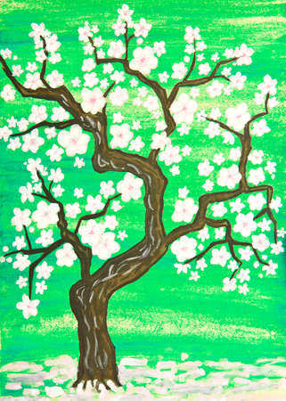 trees illustration: Tree in blossom with white flowers, painting in traditions of old Chinese art, gouache on watercolor background.