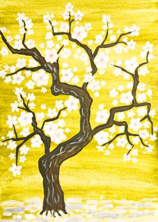 traditions: Tree in blossom with white flowers, painting in traditions of old Chinese art, gouache on watercolor background.