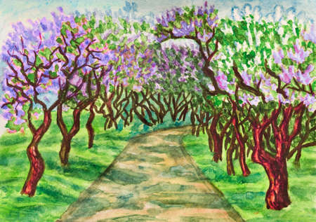 creative arts: Hand painted illustration, watercolours - spring landscape, lilac garden in blossom.