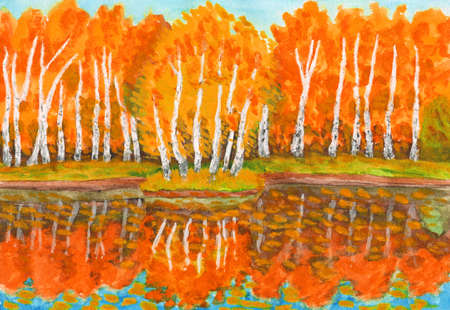 birch forest: Hand painted picture, watercolours - autumn landscape,red birch forest with reflection in water and little island with birches. Painted from real landscape in park Sokolniki in Moscow.